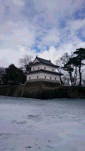 お堀が氷結した、古城・新発田城
